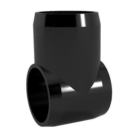 PVC Pipeworks 1 inch Slip Tee PVC Furniture Grade Fitting in Black - Hinge Joint (4-Pack)