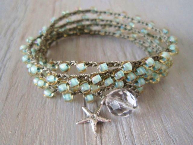 Seafoam crochet wrap bracelet necklace Malibu Star by slashKnots
