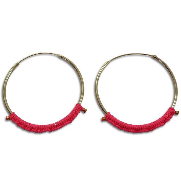 Boucles d'oreilles Sab : boucles d'oreilles créoles dorées et rose fluo