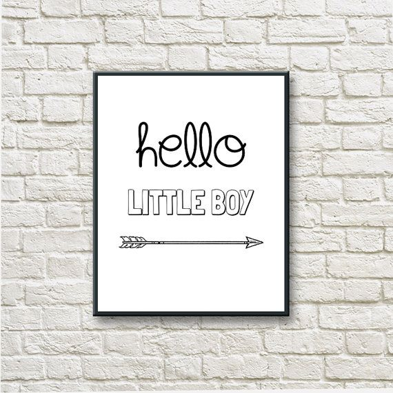 Hello Little Boy Printable Instant Download Black by DNgraphics