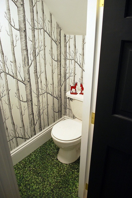 Love the wallpaper in this tiny bathroom!  Check out our tiny house: www.tinyhousegiantjourney.com