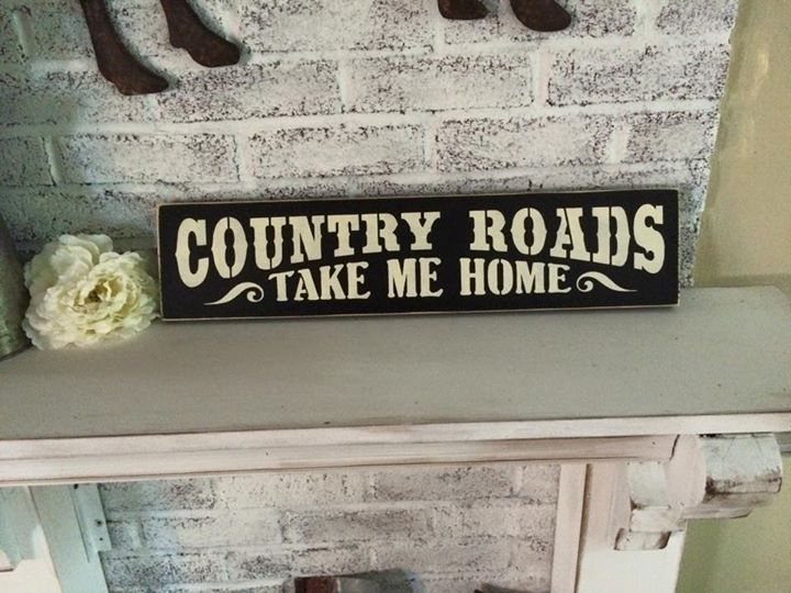 "Country+Roads+Take+Me+Home •.,¸¸,:•:*♥*:•:,¸¸,:•:*♥*•.,¸¸,:•:*♥*:•:,¸¸,:••.,¸¸,:•:*♥*:•:,¸¸,:•:*♥*•.,¸¸,:•:*♥*:•:,¸¸,:• Hand+painted+Sign+on+Pine+Board Black+with+antique+white+lettering+&+Edges+Sanded+ Measures+5+1/2""+x+24"" Key+hole+hanger+on+back Please+allow+up+to+9+business+days..."