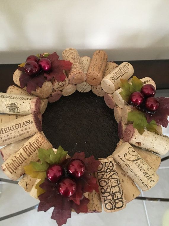 Wine cork candle rings. Grape designPillar by CrazieLadyCraftique