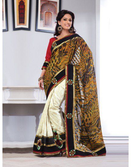 Off White and Yellow Cotton Jacquard Saree with Patch Work