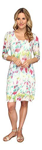 Miraclebody Jeans Womens Marilyn 3/4 Sleeve Watercolor Dress (Small)
