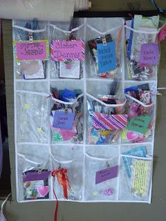 Use a shoe organizer for a girls camp mailbox. Place notes, secret sister gift, night pillow gifts, etc. The list of uses are endless.