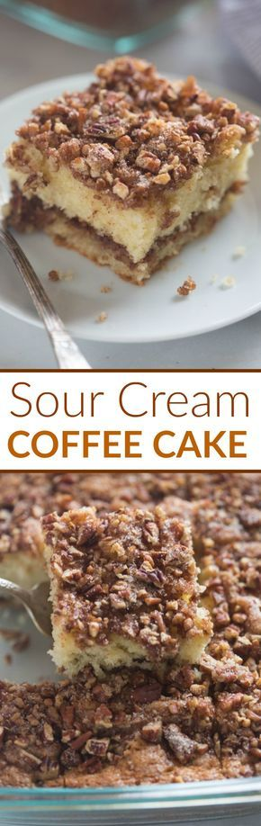 This Sour Cream Coffee Cake is not only incredibly EASY to make, it's absolutely delicious! A tender crumb cake with cinnamon pecan topping. You wont be able to stop at just one piece.| Tastes Better From Scratch