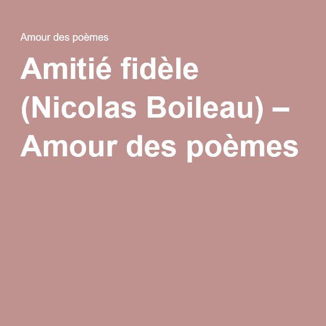 Amitié fidèle (Nicolas Boileau) – Amour des poèmes