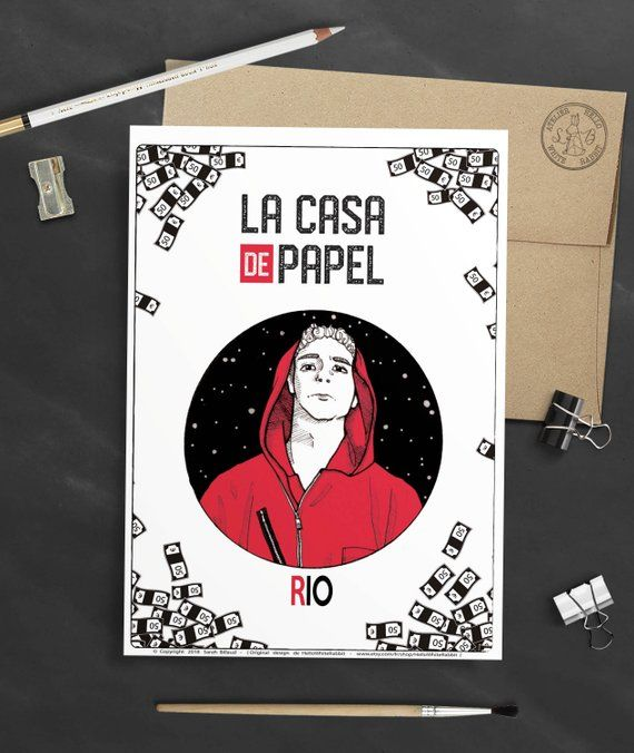 Rio Poster, TV Show Money Heist, The Casa de Papel – Rio character, Rio illustration, Art poster, Card, Home Decoration, Gift idea, A6 size