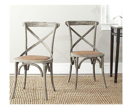 Set di 2 sedie in rattan e legno di quercia Jack grigio, 50x53x88 cm