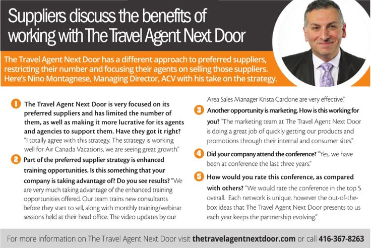 Nino Montagnese from Air Canada vacations talks about how The - travel agent job description
