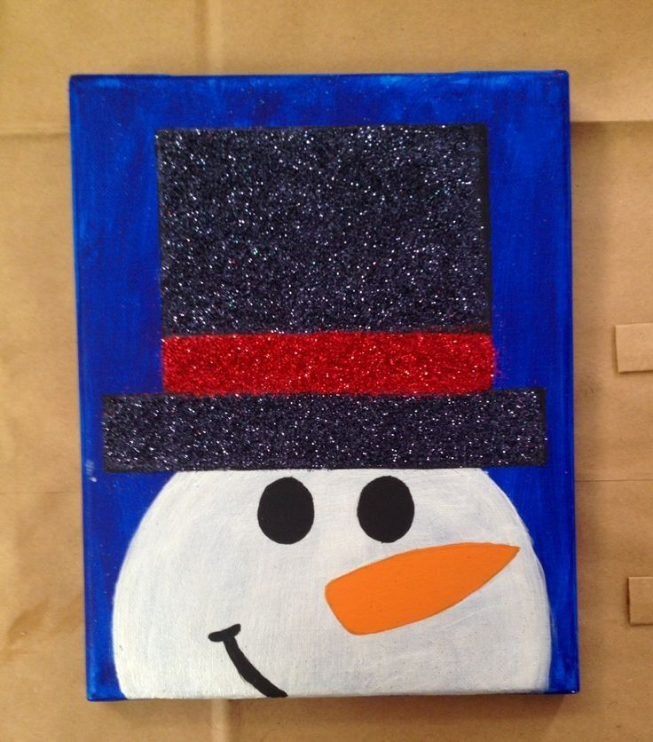 Cute Snowman Canvas Paint Idea For Wall Decor Christmas Red White Black