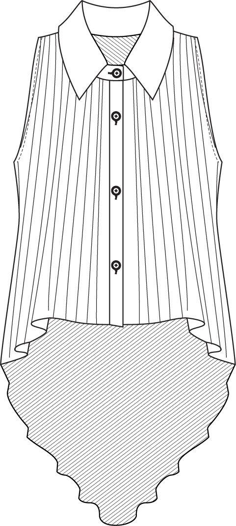 Flat Fashion Sketch Top