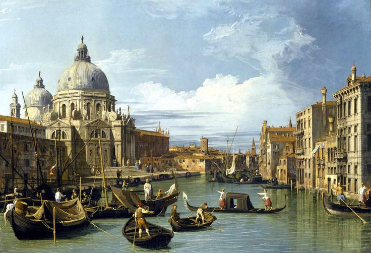 """The Grand Canal and the Church of the Salute."" by Canaletto. Completion Date: 1730. Place of Creation: Venice, Italy"