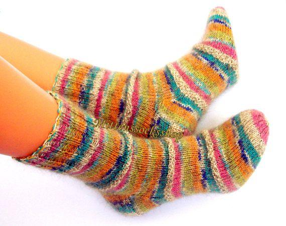 Hand knitted wool socks Very warm socks from sock yarn with kid mohair Sleepi...