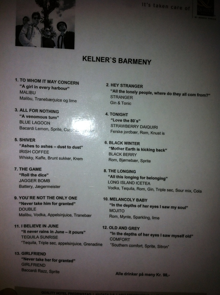Went to a concert with the band Kelner, where the song list was presented as a bar menu.