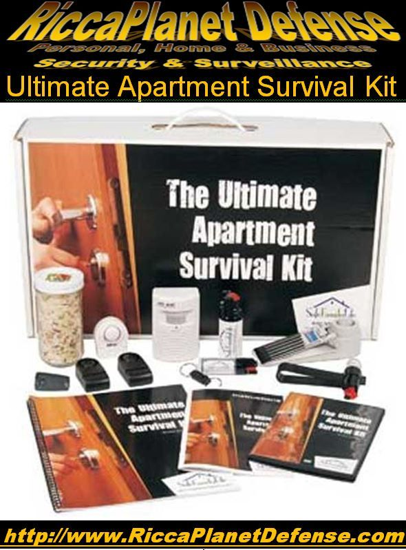 Ultimate Apartment Survival Kit! Combines our products with product instructional DVDs and manuals and new, extensively researched reports into special purpose kits. #Apartment #College #Safe #Safety #Teen #Student #Protection  #Alarm #PepperSpray #DiversionSafe  #DoorStopAlarm