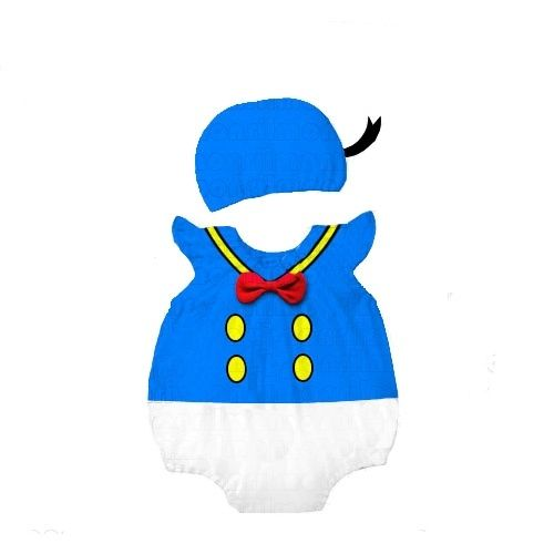 Classic Disney cartoon character Donald Duck. Two piece outfit romper and hat. Sizes 6-18m. $25. Order at www.babylunaboutique.com