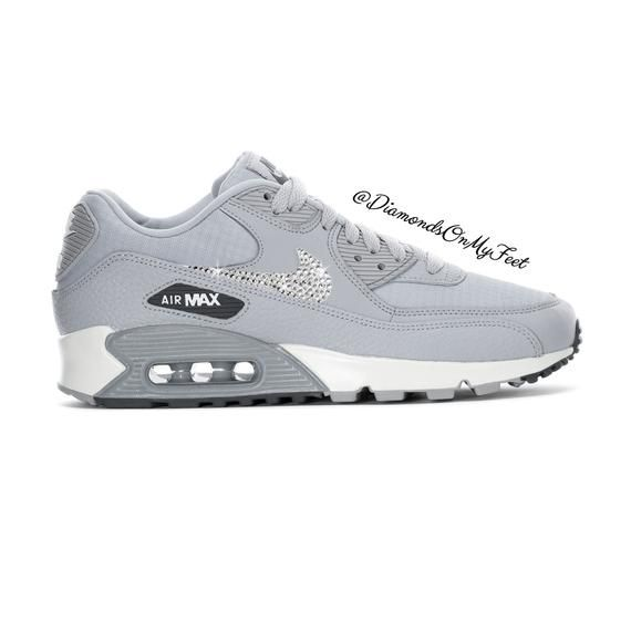 super cute exclusive range thoughts on Swarovski Women's Nike Air Max 90 Wolf Grey Shoes Sneakers Blinged ...