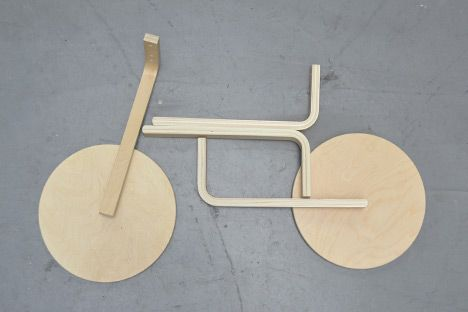 Samuel Bernier and Andreas Bhend hack the IKEA Frosta stool into a child's balance bike and sled.