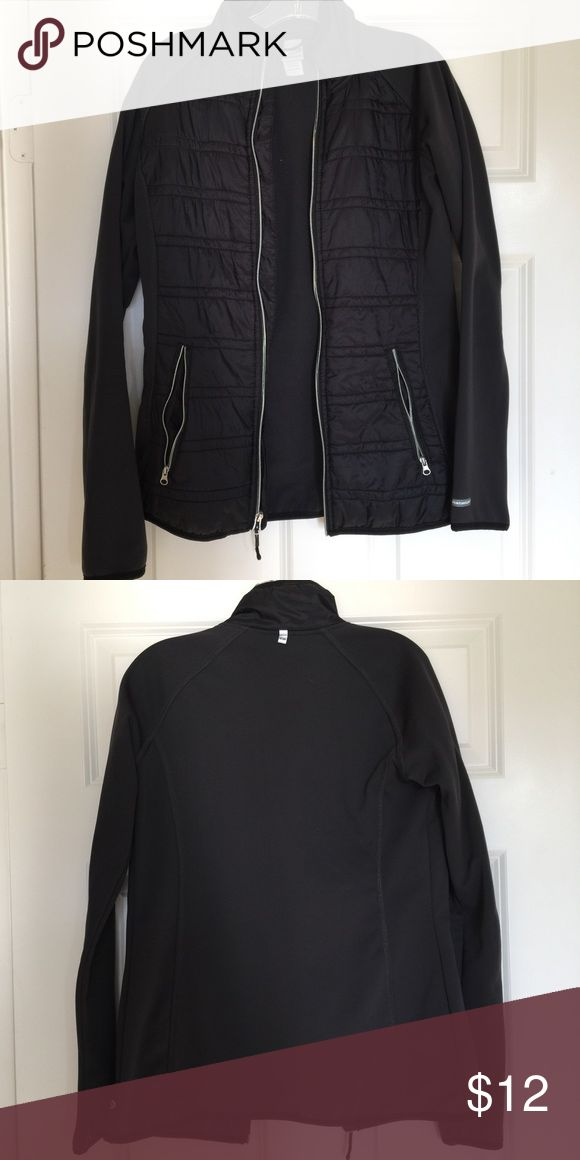 Champion workout jacket Fitted black running/workout jacket. It is very cozy in the inside. Has two pockets. Zips all the up to under your chin. And it water proof in the front. Champion Jackets & Coats