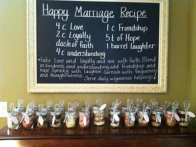 Bridal shower favors and recipe for a good marriage sign