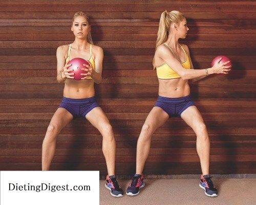 Just repinning...I used to HATE these but they work! With your back against a wall, hold a medicine ball, or a kettle bell, with both hands in front of your chest and lower into a squat (a). Keeping your hips steady, twist to the left and reach the ball toward the wall (b). Return to centre. Thats one rep. Repeat on the other side. Move back and forth at a slow, controlled pace for 20 total reps.