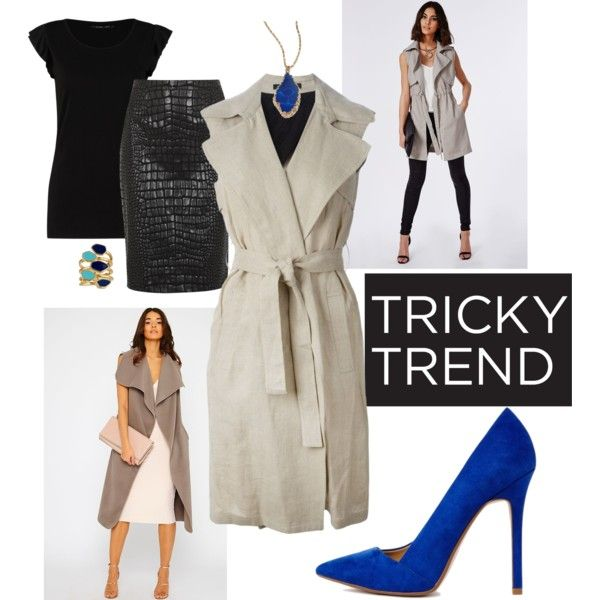 Tricky Trend: Sleeveless Coat by own-style on Polyvore featuring moda, even&odd, Theory, Missguided, Moschino Cheap & Chic, ASOS, Ariella Collection, ABS by Allen Schwartz, contestentry and sleevelesscoat