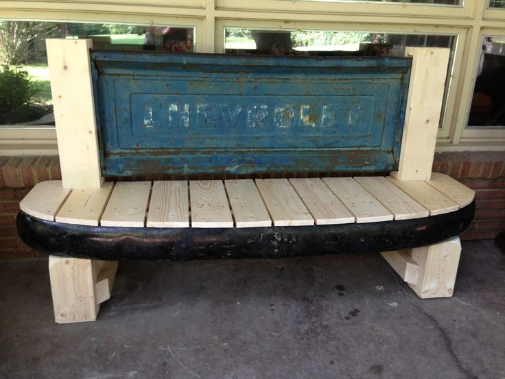 Tailgate Bench Made With Tailgate And Front Bumper From A