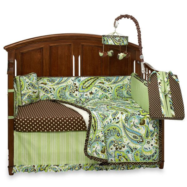 My Baby Sam Paisley Splash in Lime Crib Bedding and Accessories-buybuy BABY