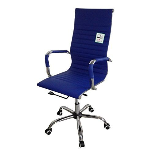 Eames Inspired High Back Ribbed Designer Executive Leather