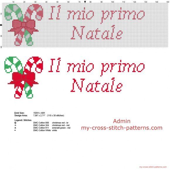 Bastoncini di zucchero di Natale con scritta il mio primo Natale schema punto croce
