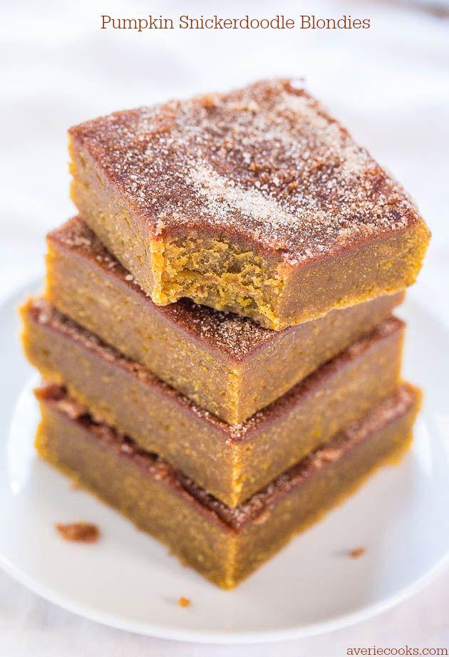 Pumpkin Snickerdoodle Blondies - Soft pumpkin bars, cinnamon-sugary…