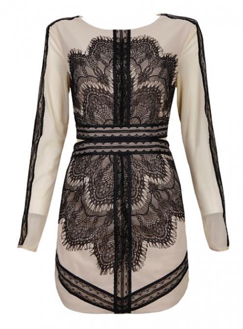 Black Lace Mesh Embroidery Sexy Slim Dress MX108
