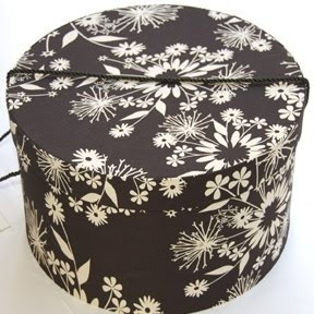 Vintage Hat Boxes / Black With White Flower Hat Box