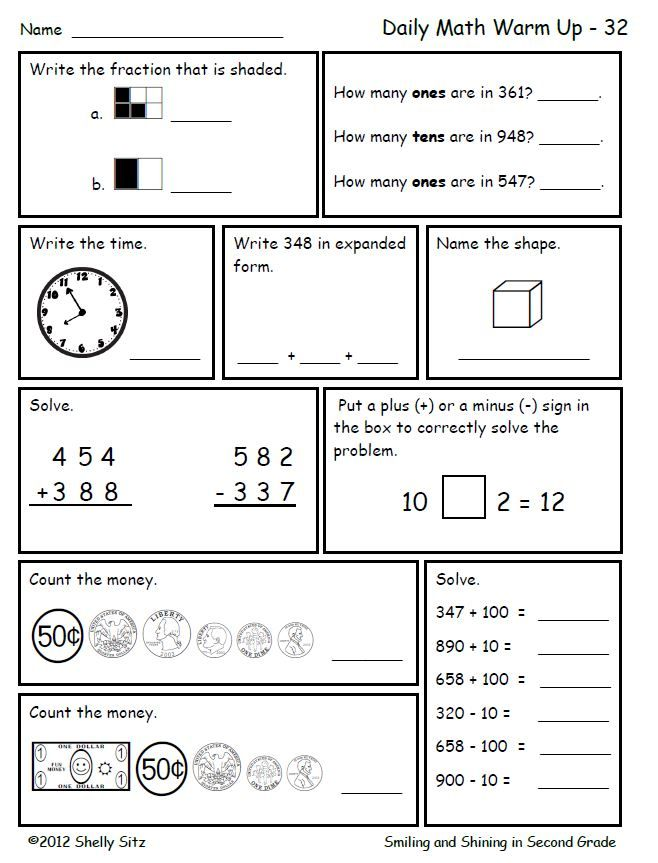 Math worksheet for 2nd grade--great for morning work or ...