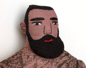 Big Blond Man with Tattoos Beard doll toile Circus by MimiKirchner