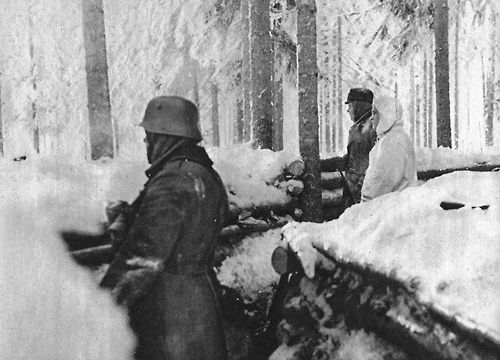 Finnish soldiers on the Karelian front lines.