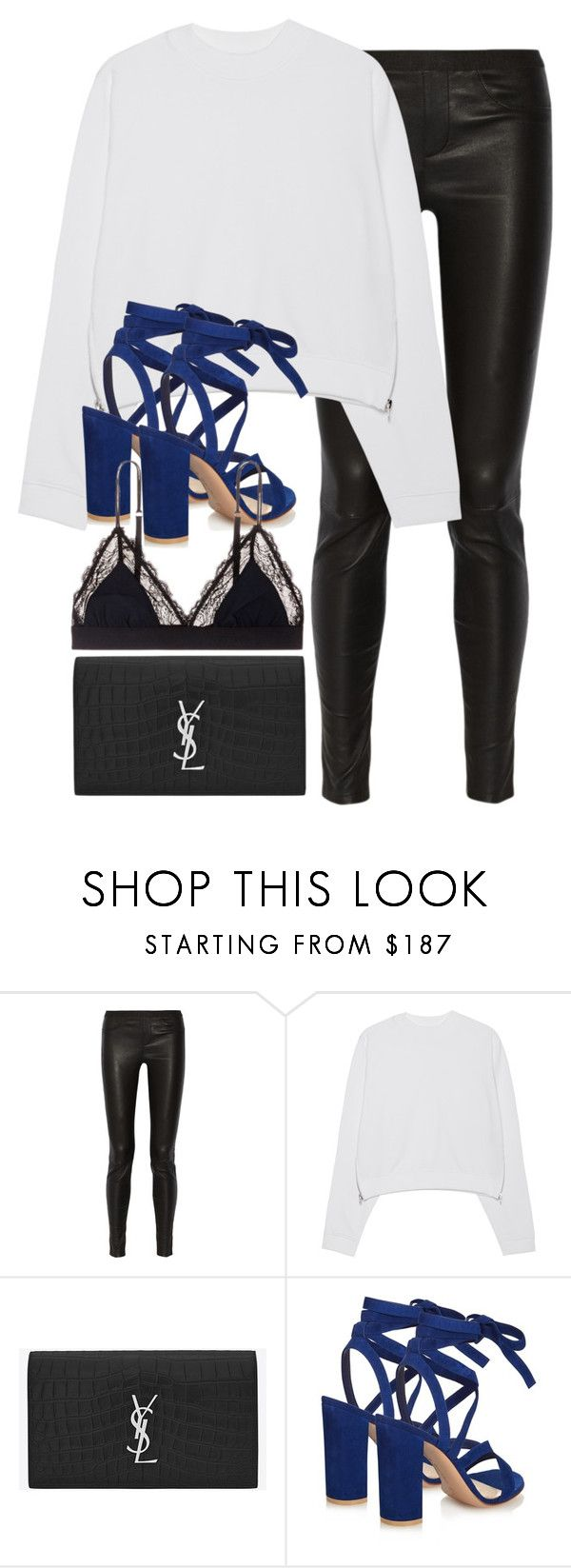 """""""Untitled #2786"""" by elenaday on Polyvore featuring Helmut Lang, Acne Studios, Yves Saint Laurent, Gianvito Rossi and LoveStories"""