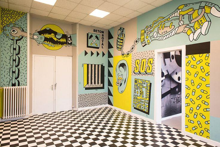 freak city paints punk rock-themed mural inside an old dentist's school