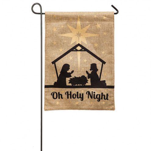 Oh Holy Night Burlap Garden Flag