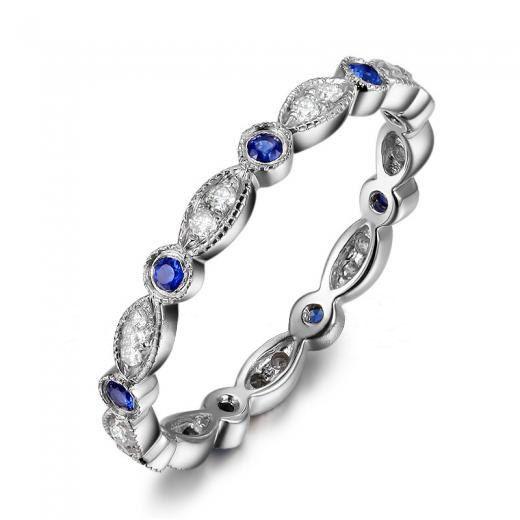 Antique Art Deco Sapphires Diamond14K White Gold Full Eternity Band Wedding Ringwedding band /emerald/sapphire/sapphire//Morganite ring