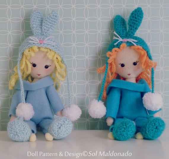 Bunny Felt Doll Crochet & Hand Sewing Pattern PDF EASTER