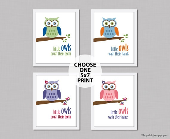 Owl Bathroom Decor One Art Print One 5x7 By HopSkipJumpPaper