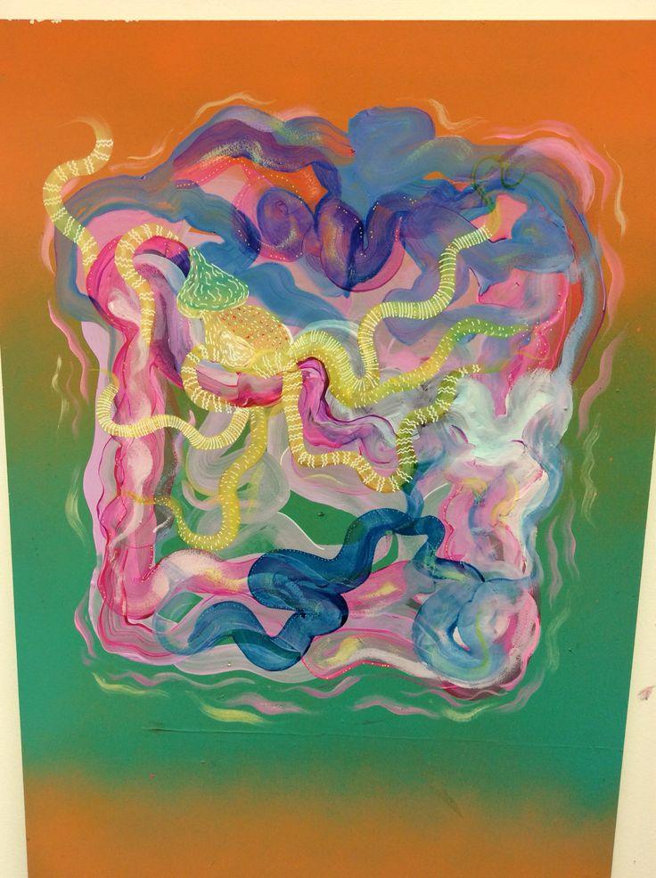 Squid rings  Ironlak acrylic paint
