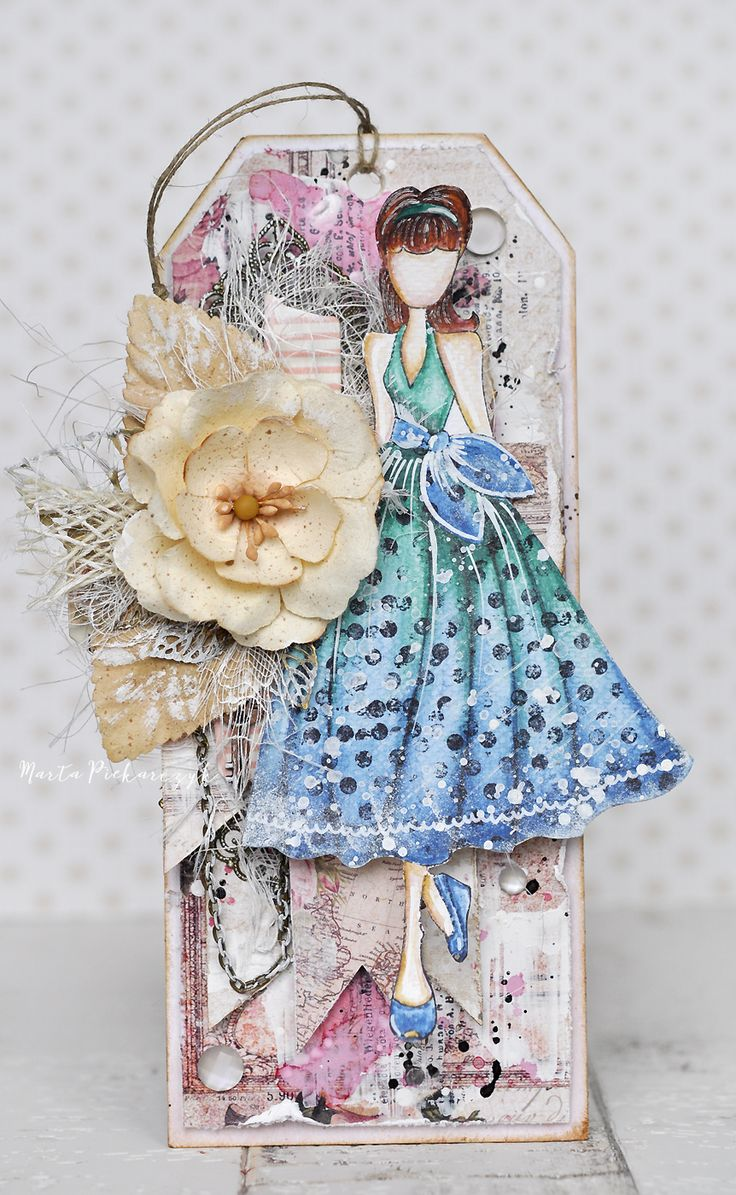 Camille - Julie Nutting - incredible layered, mixed media tag featuring Prima's Julie Nutting doll stamp.