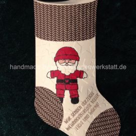 Socken Weihnachtsmann, gestaltet mit den Thinlits Formen geschmückter Stiefel von Stampin Up