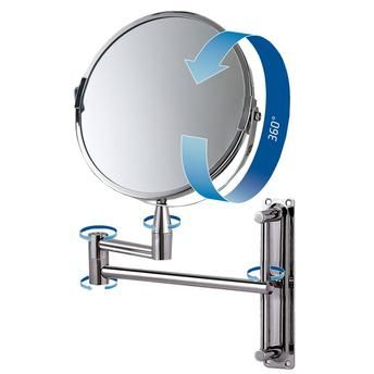 Espelho de Aumento Dupla Face Articulado Redondo Inox Barbear Maquiagem  - MR8 8482