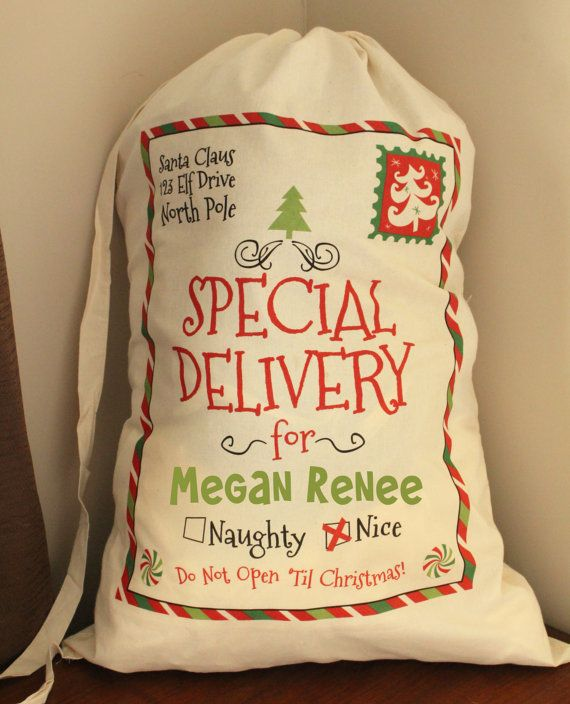 Personalized Santa Sack, Santa Sacks, Christmas Sacks, Christmas Stocking, Santa…