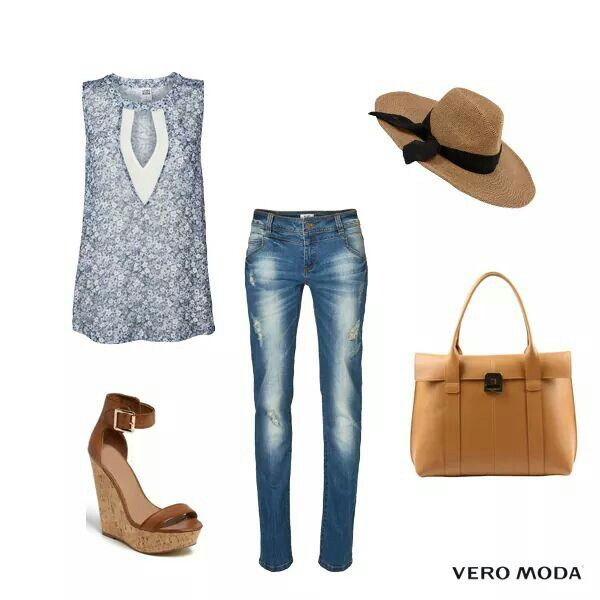 For a boho inspired look, pair this floral chiffon top in light hues of blue with a pair of ripped denims.